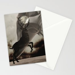 Stag Deer under Full Moon Matted Picture A363 Stationery Cards