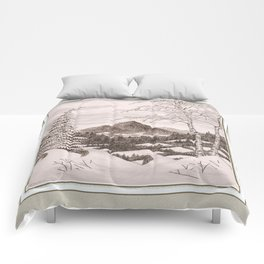 NORTHEAST SNOWFALL VINTAGE PEN AND PENCIL DRAWING Comforters