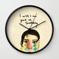 kevin russ Wall Clocks featuring Uncle Kevin by Candy Chiu