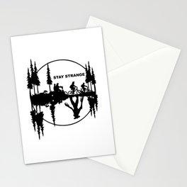 Stay Strange black Stationery Cards