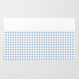 Dotted Grid Boarder Blue on White Rug