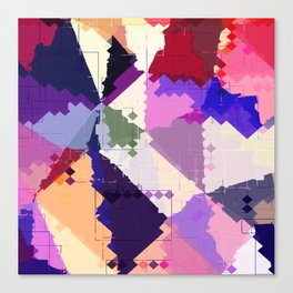 geometric square pixel and triangle pattern abstract in pink purple blue Canvas Print