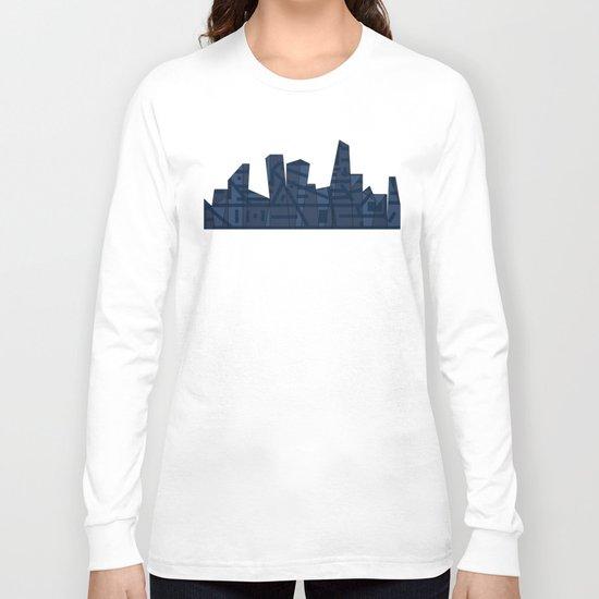 Barruf's Skyline In Blue Long Sleeve T-shirt