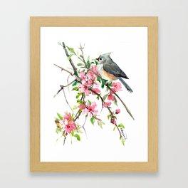 Titmouse and Cherry Blossom, birds and flowers design artwork Framed Art Print