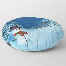 Cabin, snowman and Santa in moonlit winter landscape at night Floor Pillow