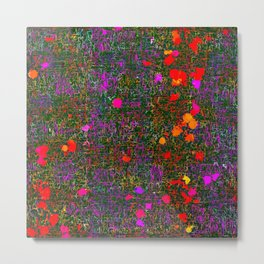 psychedelic abstract art texture background in purple red orange pink Metal Print