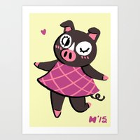 agnes Art Prints featuring Agnes by seaeyedraw