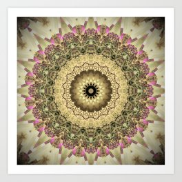 Vintage Gold Pink Mandala Design Art Print