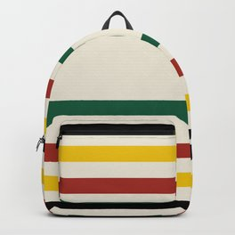 Rustic Lodge Stripes Black Yellow Red Green Backpack