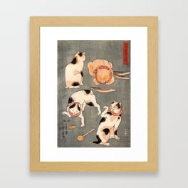 Four cats in different poses by Utagawa Kuniyoshi Framed Art Print