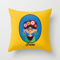 frida Throw Pillows featuring Frida by Juliana Motzko