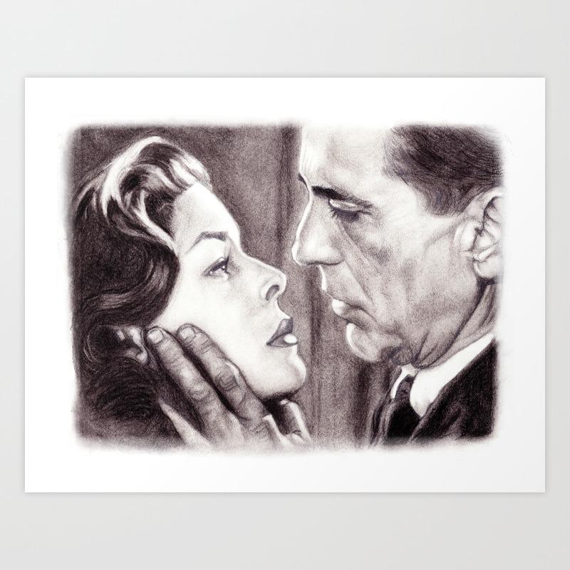 Charcoal pencil drawing of bogey bacall dark passage film noir art print