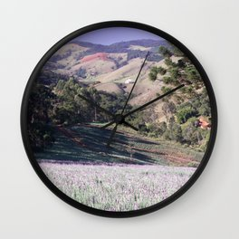 Lavenders and mountains Wall Clock