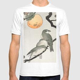 Ohara Koson, Birds Sitting On Kaki Tree - Japanese Vintage Woodblock Print T-shirt