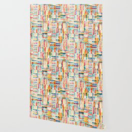 Summer Pastel Geometric and Striped Abstract on cream Wallpaper