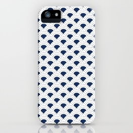 Blue and white Japanese style geometric pattern iPhone Case