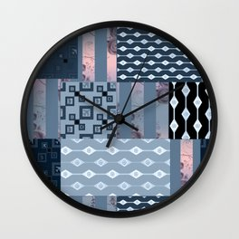 #Pink #blue #patchwork # country Wall Clock