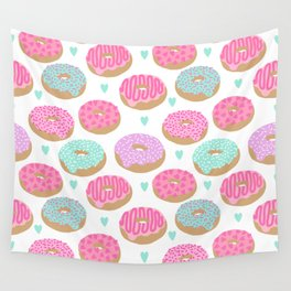 Donut hearts pastel colors love happy hipster foodie funny valentines day Wall Tapestry
