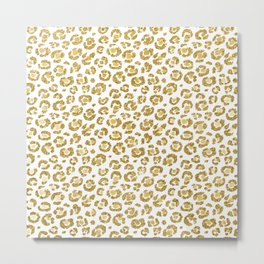 Glamorous Faux Sparkly Gold Leopard Metal Print