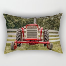 IH 240 Red International Farmall Tractor Front View Rectangular Pillow