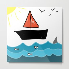 Sailboat on the Water with Fish Color Drawing Metal Print