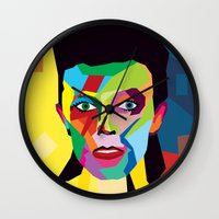 bowie Wall Clocks featuring bowie by mark ashkenazi
