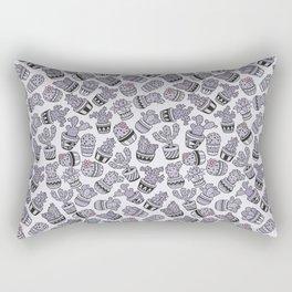 Blush violet black pink hand painted cactus floral Rectangular Pillow