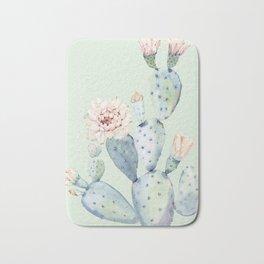 Prettiest Mint Cactus Rose Bath Mat