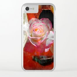 Music and The Pink Rose Clear iPhone Case