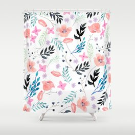 Sweet Floral Watercolor Shower Curtain
