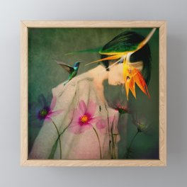 Woman between flowers / La mujer entre las flores Framed Mini Art Print