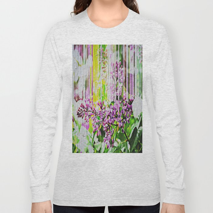 White Washed Painted Lilac Long Sleeve T-shirt