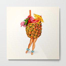 Tiki Cocktail Pin-Up - Pineapple Metal Print