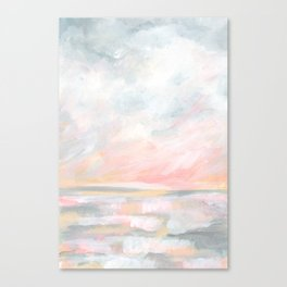 Overwhelm - Pink and Gray Pastel Seascape Canvas Print