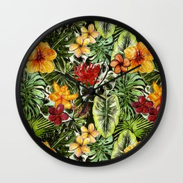 Tropical Vintage Exotic Jungle Flower Flowers - Floral watercolor pattern Wall Clock