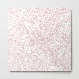 Elegant faux rose gold floral mandala design Metal Print