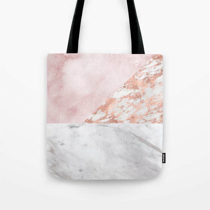 Mixed pinks rose gold marble Tote Bag