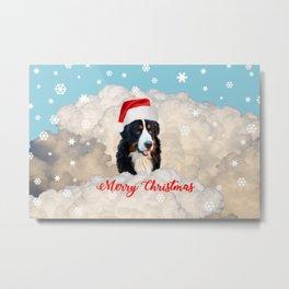 Bernese Mountain Dog Santa Claus Clouds - Merry Christmas Metal Print