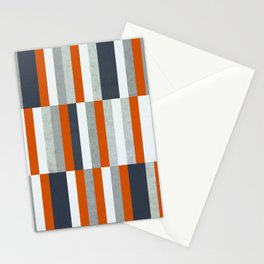 Orange, Navy Blue, Gray / Grey Stripes, Abstract Nautical Maritime Design by Stationery Cards