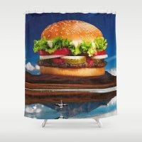 hamburger Shower Curtains featuring Mount Saint Hamburger by Imogen Art