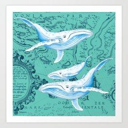Whale Family Teal Art Print