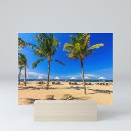 Sunbeds and palm trees on the beach, Sanur, Bali, Indonesia Mini Art Print