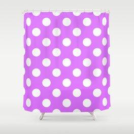 Heliotrope - violet - White Polka Dots - Pois Pattern Shower Curtain