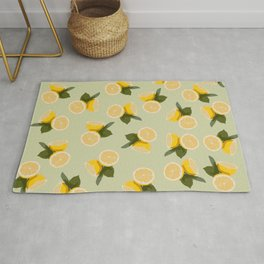 Yellow Citrus Lemon Fruit on Pale Lime Green Rug
