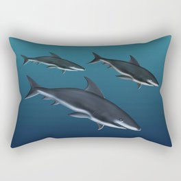 Three Sharks Dive Deep Rectangular Pillow