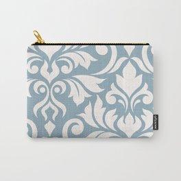 Flourish Damask Art I Cream on Blue Carry-All Pouch
