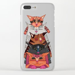 pile of cats Clear iPhone Case