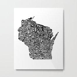 Typographic Wisconsin Metal Print