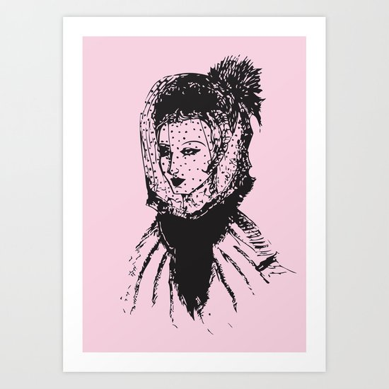 Veiled Lady on Pink Art Print