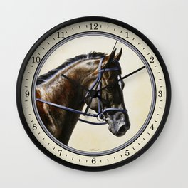 Dark Bay Dressage Horse Portrait Wall Clock